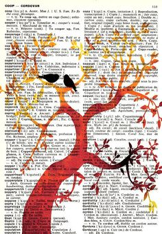Summer Love Tree Vintage English to French Dictionary Page Art