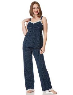 Motherhood Maternity: Spaghetti Strap Square Neck Empire Seam Nursing Pajama Set $36.98