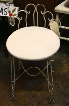 White Metal Chair  Shabby chic home decor.  $30  Dealer #1680   White Elephant Antiques 1026 N. Riverfront Blvd. Dallas, TX 75207  Open: Mon...