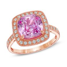 9.0mm Cushion-Cut Lab-Created Pink and White Sapphire Frame Ring in Sterling Silver with 14K Rose Gold Plate - Size 7