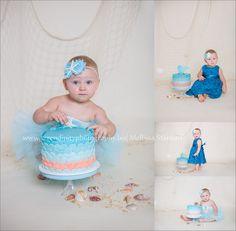 https://www.facebook.com/serendipityphotographyllc Cake smash, 1 year, birthday, cake, nautical, mermaid, ocean, themed birthday