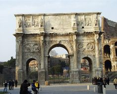 Arch of Constantine near the Colosseum in Rome, Italy.
