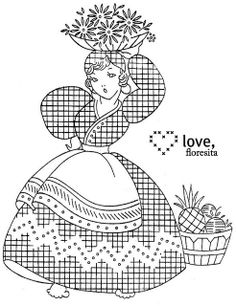 Another Mexican lady embroidery pattern! So cute!