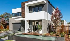 LOOK AT COLOURS Modern contemporary masterton temps edge. Render- surfmist and monument, brick- austral chiffon. Courtyard House, Facade House, Modern Exterior, Exterior Design, Exterior Paint, Brick Rendering, Interior Cladding, Modern House Facades, Architecture Visualization