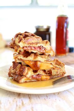 Ham & Cheese Stuffed Pumpkin Spice French Toast Waffles | The Noshery
