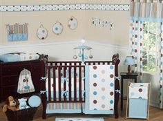 Blue and Chocolate Mod Dots 9 Piece Crib Bedding Set