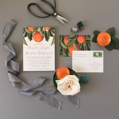 This invitation showcases classic typography and vintage oranges with classic and modern accents. This suite is perfectly suited for an outdoor orchard extravaganza, Florida destination wedding. Orange Wedding Invitations, Wedding Invitation Suite, Wedding Stationary, Invitation Ideas, Destination Wedding, Wedding Planning, Cheap Wedding Venues, Wedding Save The Dates, Invitations