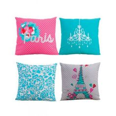 New Girls Love Paris Aqua Pink Double Sided Decorative Toss Pillows Two Pieces Paris Room Decor, Paris Rooms, Paris Bedroom, Paris Theme, Bedroom Themes, Kids Bedroom, Bedroom Decor, Bedrooms, Bedroom Ideas