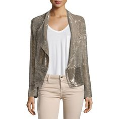 IRO Chill Sequin Double-Breasted Jacket (101125 RSD) ❤ liked on Polyvore featuring outerwear, jackets, gold, straight jacket, iro jacket, long sleeve jacket, sequin jacket and brown jacket