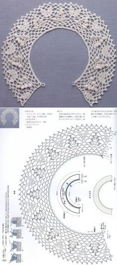 Crochet Patterns Lace Crochet lace collar: petals, popcorns and picots Col Crochet, Crochet Lace Collar, Gilet Crochet, Crochet Diagram, Crochet Blouse, Crochet Chart, Crochet Scarves, Crochet Motif, Irish Crochet