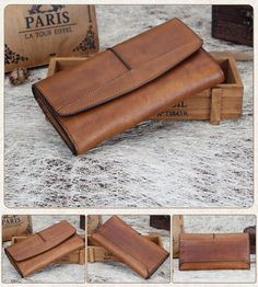Handmade Ladies Wallet, Vintage Long Purse, Zipper Womens Wallet 9056 Model Number: 9056 Dimensions: x x / x x Weight: / Hardware: Brass Hardware Color: Red/Grey/Purple/Blue/Dark Brown/Coffee/Green/Yellow/Khaki Features: Handbags On Sale, Luxury Handbags, Purses And Handbags, Vintage Cowgirl, Cheap Purses, Cute Purses, Jeans West, Leather Wallet Pattern, Handmade Wallets