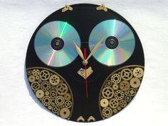Wall Clock Steampunk Owl, steampunk wall clocks, home and living, home decor, black wall clock, unusual wall clocks, owl wall clocks by OlgaArtShop on Etsy