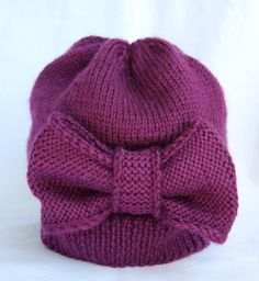 HandKnit Purple Hat with Oversized Bow for by Hipknittist on Etsy, $25.00