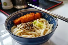 香菇烏龍冷麵佐炸鱈魚條。@一壽養庵 #Cool #Udon #noodles with fried fish #Summer #food #Taiwan
