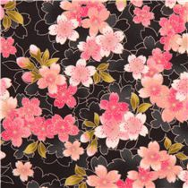 black Cosmo Sakura cherry blossom fabric from Japan