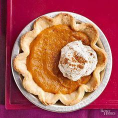 Perfect for a small-scale Thanksgiving, these individual pumpkin pies feature a creamy mixture of pumpkin and butterscotch pudding in a flaky, buttery pastry. Top with pumpkin-spiced whipped cream.