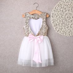 9525d60f7f This listing is for a VALENTINE S DAY Gold Heart Backless Bow Knot Dress  with Pink Bow