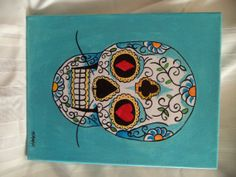 Original Sugar Skull Acrylic Painting 11 x 14 on Etsy, $45.00