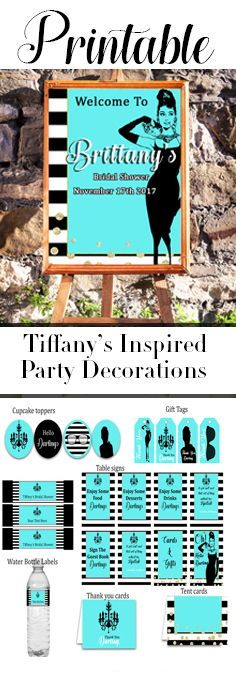 Wouldn't you love to have these beautiful Tiffany's themed printables at your Breakfast at Tiffany's party? Great for birthday parties, baby showers, or bridal showers. Shop now Darling.