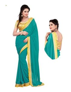 Buy Try N Get Bollywood Replica Nargis Fakri Georgette Blue Designer And Party Wear Saree - (product Code - Online Sky Blue Saree, Georgette Sarees, Party Wear Sarees, Blouse Online, Indian Dresses, Bollywood, Sari, Clothes For Women, How To Wear