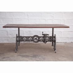 L Crank dining table iron steam punk gears solid wood top industrial design Decor, Furniture Design, Industrial Design Furniture, Vintage Industrial Decor, Furniture, Industrial Dining Table, Industrial Furniture, Vintage Wood, Dining Table