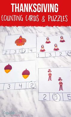 These Thanksgiving counting and cards and puzzles are great for preschoolers and you can use them in several different ways. Practice counting, addition and skip counting, a fun way to learn preschool math.