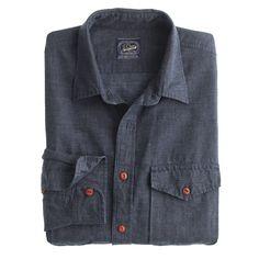 51cf69cfaed Irish linen-cotton field shirt in microstripe