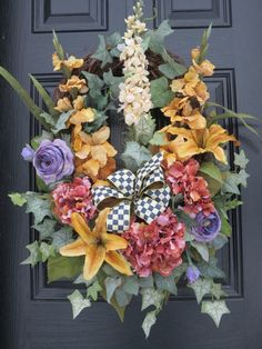 Mother's Day Spring  Summer Door Wreath by hollyhillwreaths