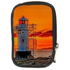 Seaside #lighthouse and orange sunset digital camera case #compact #leather,  View more on the LINK: http://www.zeppy.io/product/gb/2/321649553467/
