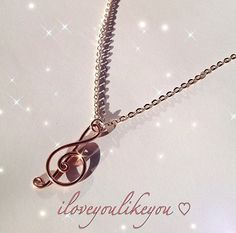 Rose Gold Treble Clef Necklace / Music Note / by iloveyoulikeyou @Etsy #music #jewelry Free Shipping