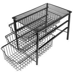 Under Cabinet Storage,Sliding Basket Organizer Drawer,Bathroom Kitchen Under Sink Organizer,Black,Three Tier.