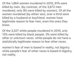 is so powerful. The existential fears of white people are in a feedback loop with their racism. Conversely, women's fear is real, yet male violence is negated by male privilege. Intersectional Feminism, Equal Rights, Patriarchy, Faith In Humanity, Look At You, Social Justice, Thought Provoking, Just In Case, Things To Think About