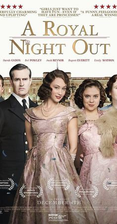 Directed by Julian Jarrold.  With Sarah Gadon, Bel Powley, Emily Watson, Rupert Everett. On V.E. Day in 1945, as peace extends across Europe, Princesses Elizabeth and Margaret are allowed out to join the celebrations. It is a night full of excitement, danger and the first flutters of romance.