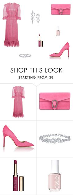 """""""Untitled #9524"""" by mie-miemie ❤ liked on Polyvore featuring Gucci, Manolo Blahnik, Harry Winston, Clarins and Essie"""