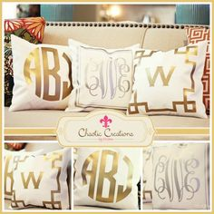Metallic, Monogrammed, Throw Pillows - perfect for our new room! My New Room, My Room, Bedroom Design Inspiration, Monogram Pillows, Monogram Decal, Art Deco, Diy Décoration, Home Accessories, Sweet Home