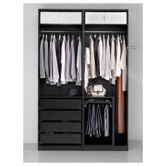 Open closet system pax wardrobe ideas for 2019 At Home Furniture Store, Modern Home Furniture, Black Furniture, Affordable Furniture, Pax Corner Wardrobe, Ikea Pax Wardrobe, Black Wardrobe, Pax System, Closet System