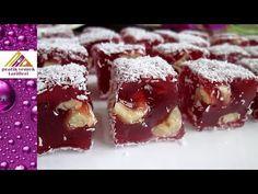 Hakiki LOKUM Tarifi Çifte kavrulmuÅŸ lokum Authentic Turkish delight recip… Kinds Of Desserts, Köstliche Desserts, Delicious Desserts, Dessert Recipes, Yummy Food, Lokum Recipe, Nougat Recipe, Turkish Delight, Turkish Recipes
