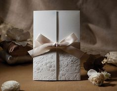 30 pcs White Wedding Favor Invitation with Champagne Ribbon Bow    ♥ ♥ ♥ This lovely wedding favor invitation will add a touch of romantic whimsy
