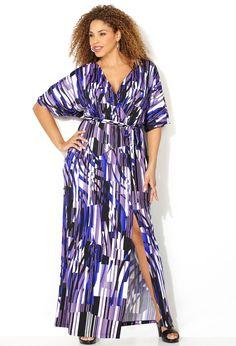 Geo Kimono Wrap Maxi Dress-Plus Size Dress-Avenue