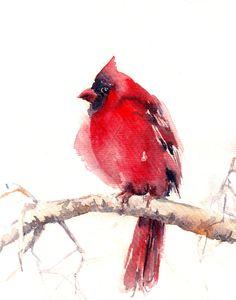 Cardinal Bird Watercolor Print, Northern Cardinal Painting, Bird Watercolour, Wall Art, Red Bird Home Decor