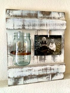 Distressed wood frame with Mason Jar vase. This is the project that sparked the idea of Chosn'n 1 Crafts! I made this for my mom for Mother's Day and a bunch of folks wanted to order one, and it was all over after that!!