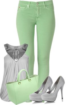 """Mint & Gray - Office Buisness"" by itzlilmc <span class=""EmojiInput mj40"" title=""Heavy Black Heart""></span> liked on Polyvore"