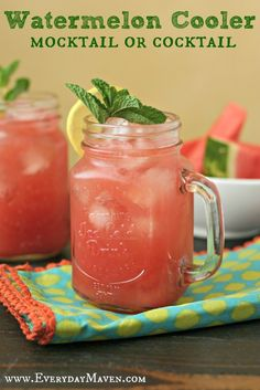 Watermelon Cooler (Mocktail or Cocktail) from www.everydaymaven.com