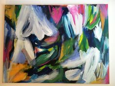 Abstract expressionist action painting 36x48 by Melissa Bollen 2013