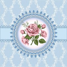 Pink Roses in Medallion with Blue Background Printable Decoupage Vintage, Decoupage Paper, Vintage Paper, Printable Scrapbook Paper, Flower Clipart, Print Pictures, Flower Cards, Vintage Images, Scrapbooks
