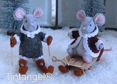 The joy of Winter - Little Mice sledding and skiing - DIY kit