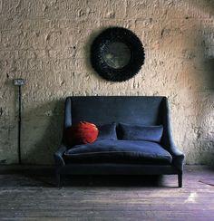 Ochre Snooze Sofa Blue Velvet/Remodelista