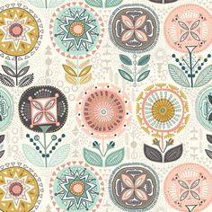 Flower Retro Modern Floral Print Sophia Cotton Fabric by Makower per fat quarter per metreFQ