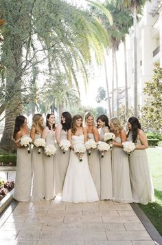 wedding dress and bridesmaids - love the neutral colored bridesmaids dresses