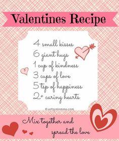 Recipe for Valentine's Day Poem & free prnitable